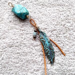 Southwestern Style Boho Pendant Leather Turquoise